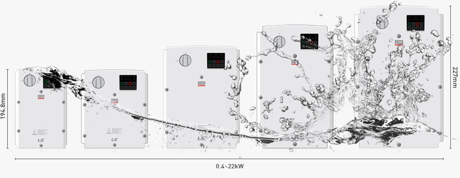 Größenvergleich JS-Frequenzumrichter S100